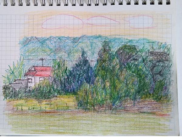 家から見た近所の景色をスケッチした色鉛筆画