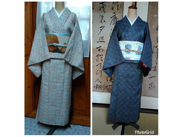 二部式のきもの。ウールの着物(左)と叔母の大島紬(右)。