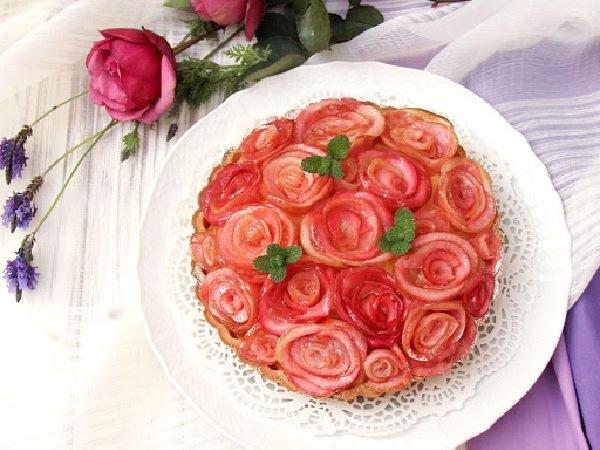 バラの花のタルト